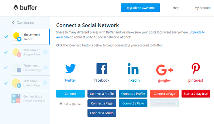 Buffer - Redes Sociales disponibles