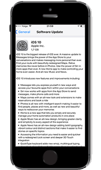 Pantalla Software update iOS10